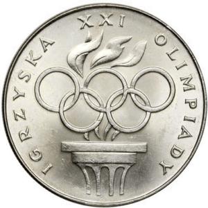 Igrzyska XXI Olimpiady - 200 zł 1976 srebrna moneta - przód