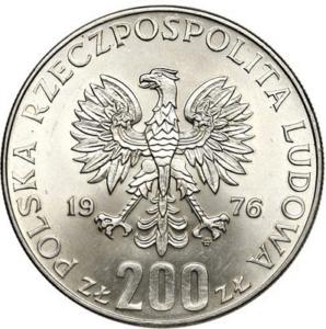 Igrzyska XXI Olimpiady - 200 zł 1976 srebrna moneta - tył