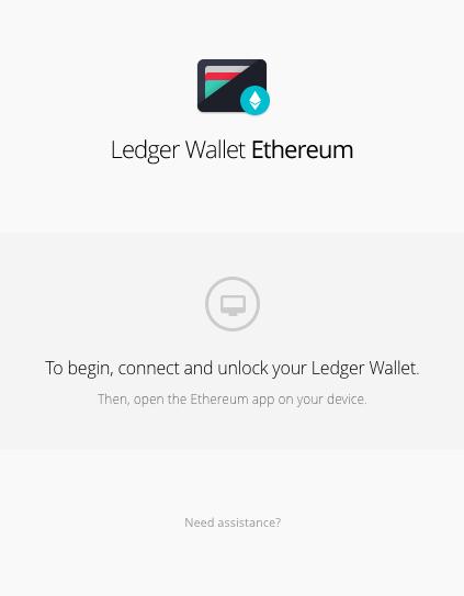 Ekran powitalny aplikacji ethereum