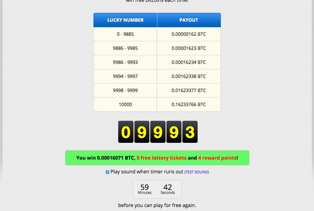 Bonus w serwisie z darmowymi Bitcoinami. Jeśli dopisze Ci szczęście, możesz wygrać dużo więcej satoshi, niż podstawowa ilość.