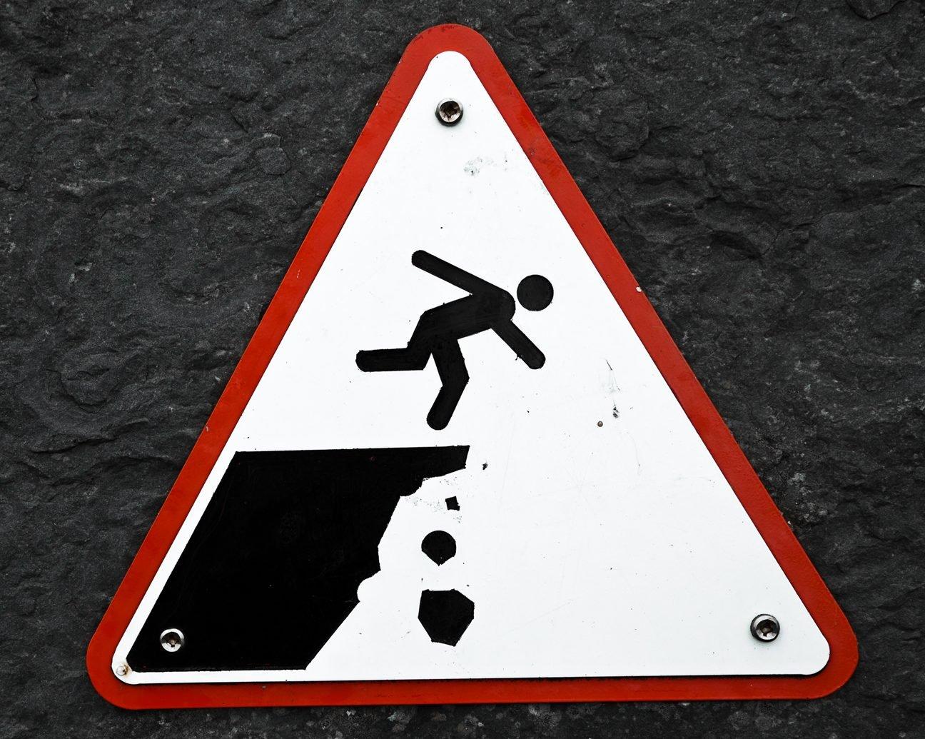 warning sign cliff
