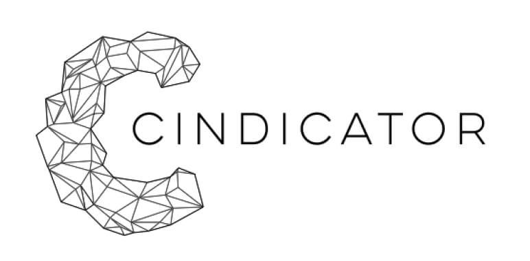 Logo kryptowaluty Cindicator (CND), która wdraża platformę hybrydowej inteligencji. Połączenie sił mózgów inwestorów i sztucznej inteligencji modeli komputerowych.