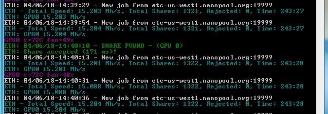 Znalezienie share oznacza, że kopanie kryptowalut działa. Im więcej share, tym większy nasz udział w wypłacie. Koparka kryptowalut znalazła ETH i ETC