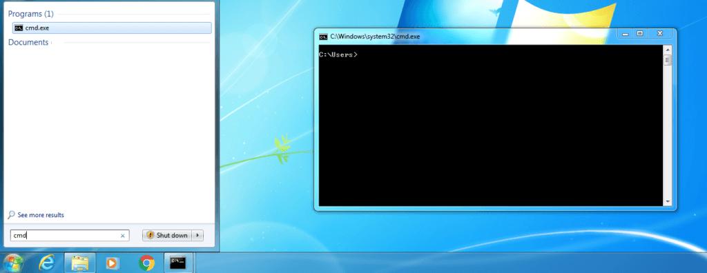 Jak dostać siędo linii komend w systemie Windows? Wpisać cmd w menu start.