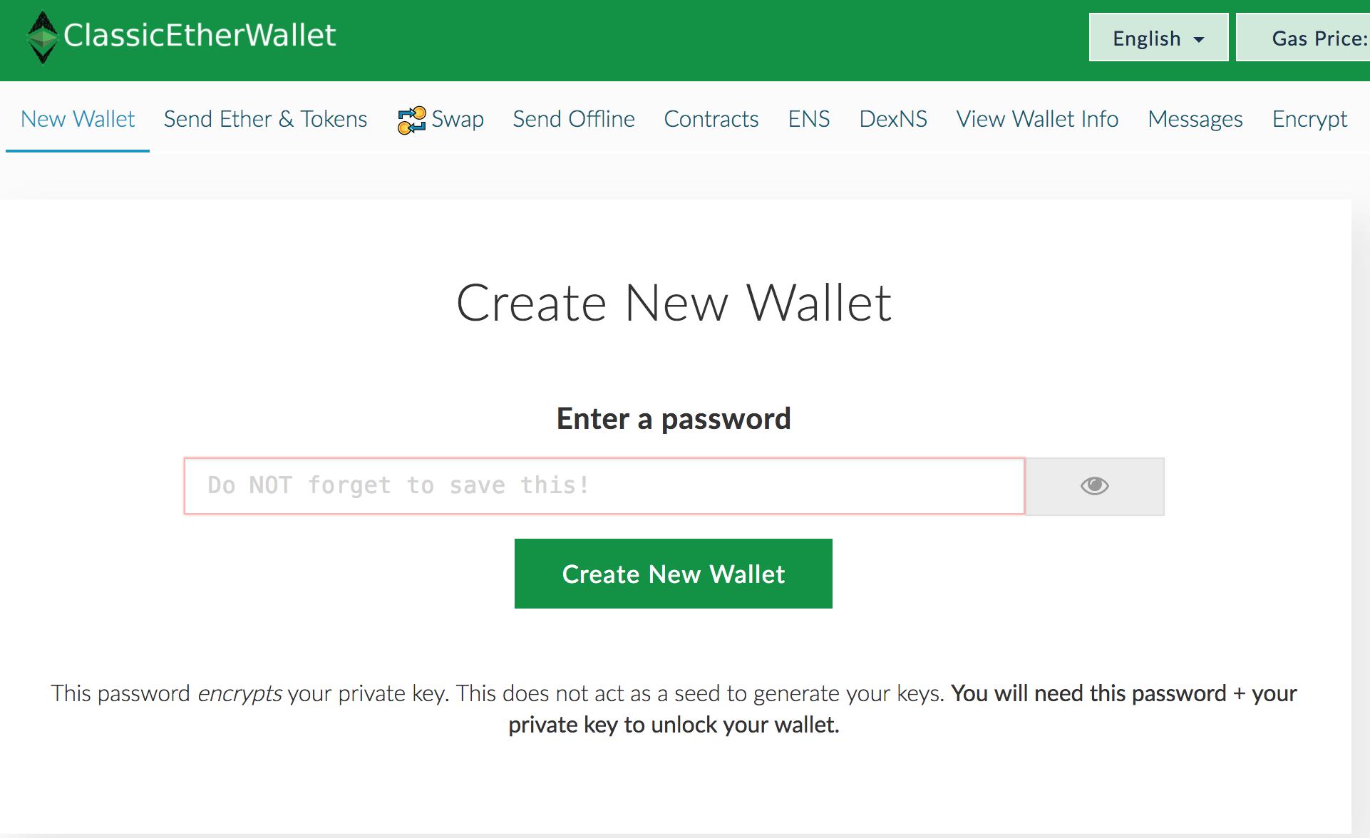 Utworzenie adresu Ethereum Classic wymaga zabezpieczenia hasła i ściągnięcia pliku z kluczem prywatnym. Nie zapomnij zabezpieczyć plików.