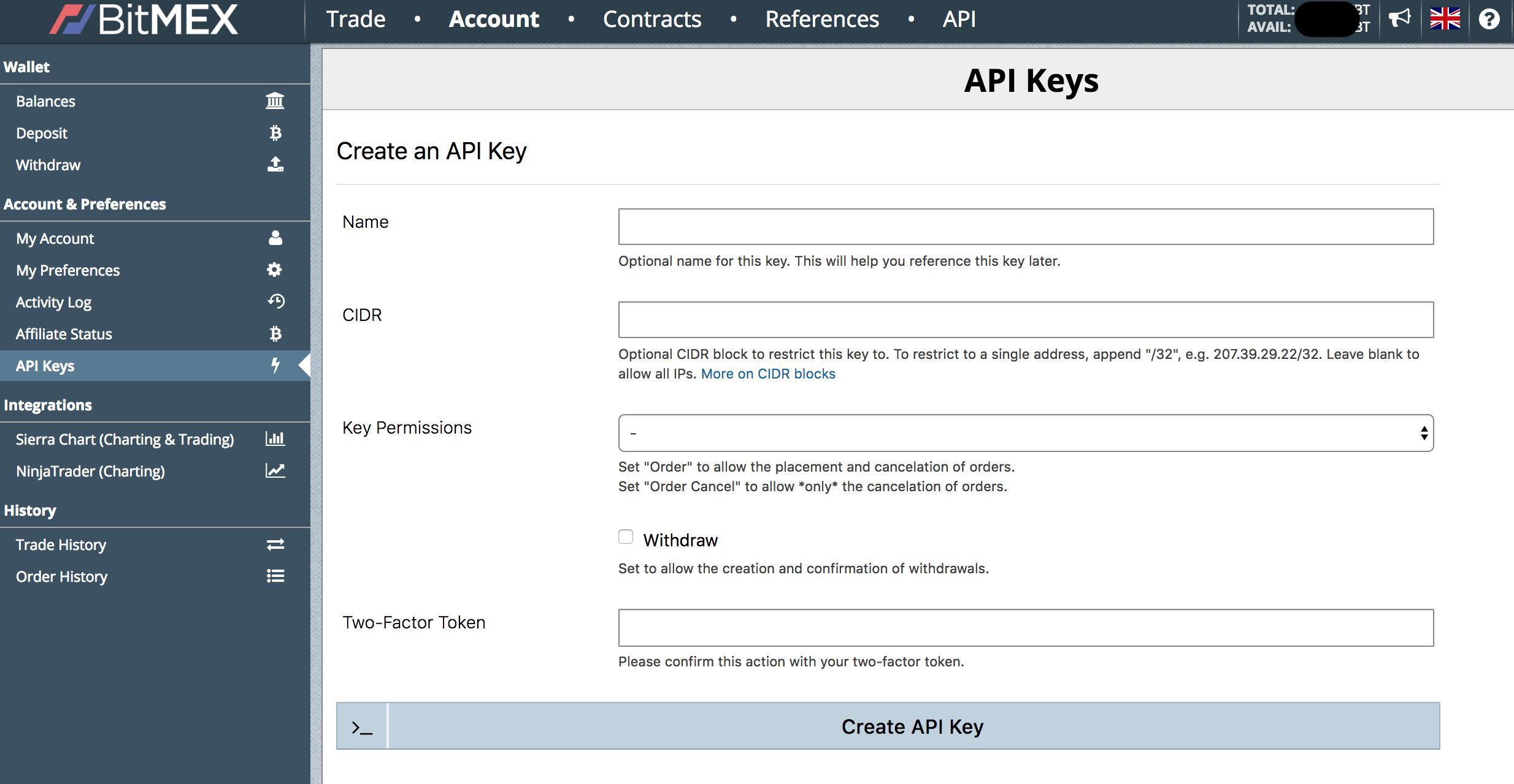 Dodawanie kluczy API na giełdzie kryptowalut BitMEX do tradingu automatycznego botami.