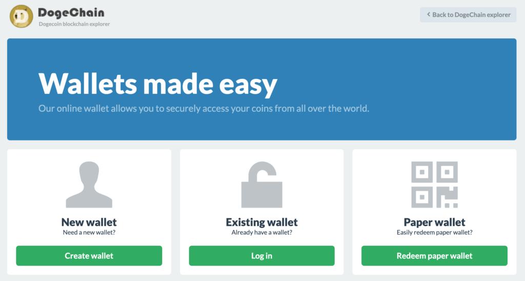 Serwis Dogechain łączy portfel online z bezpieczeństwem i koniecznością ochrony klucza prywatnego samodzielnie.