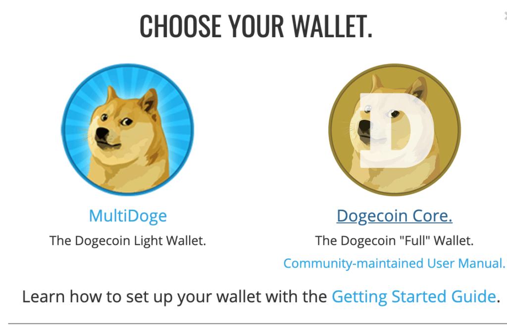 Portfel Dogecoin Core i Multidoge to wybór ze strony projektu dogecoin com.