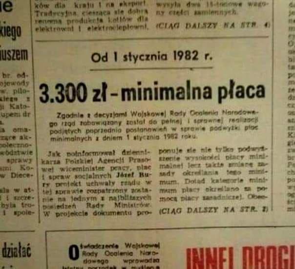 Pensja minimalna w Polsce 1982