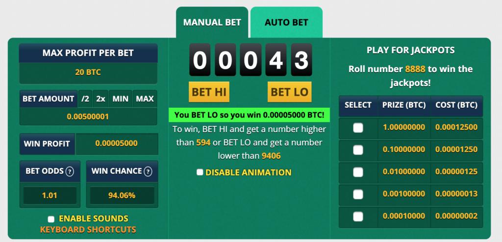 Wygrany strzał w kasynie Bitcoin
