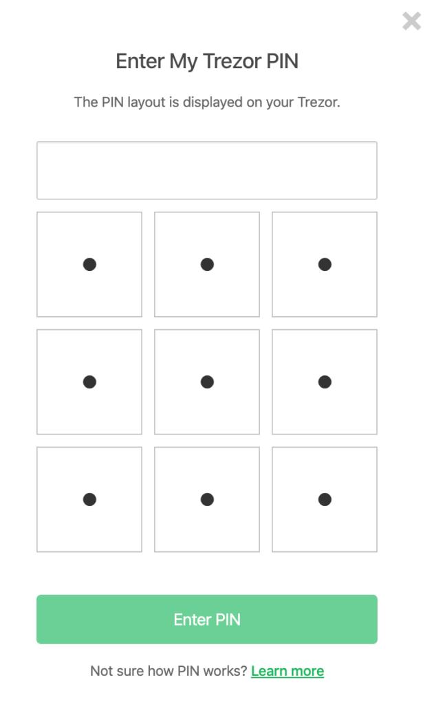 Trezor One ekran wpisywania pinu na komputerze. Trzeba dostosować miejsca do cyfr wyświetlonych na urządzeniu!