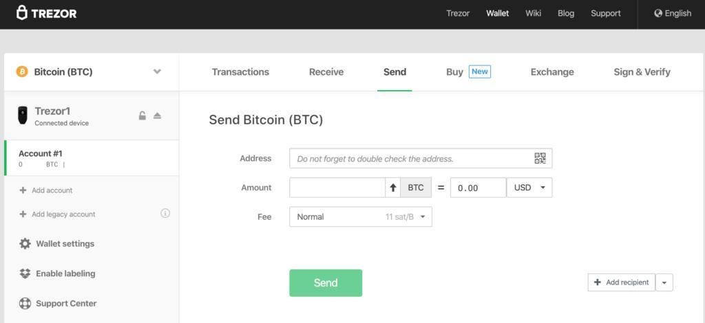 Ekran transakcyjny BTC portfela Trezor One