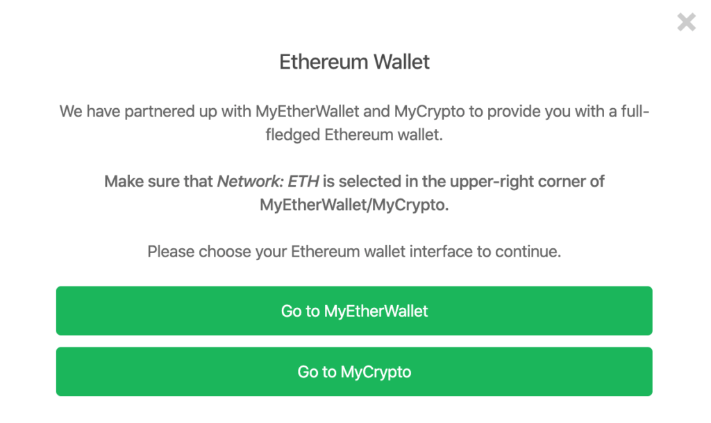 Wybór obsługi transakcji Ethereum w portfelu Trezor One.